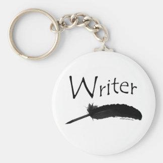 Escritor con la pluma de canilla llavero redondo tipo pin