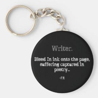 Escritor., corrimiento en tinta sobre la página, s llavero redondo tipo pin
