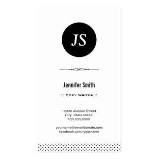 Escritor de la copia - blanco negro limpio plantillas de tarjetas de visita