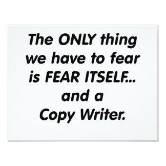 """escritor de la copia del miedo invitación 4.25"""" x 5.5"""""""