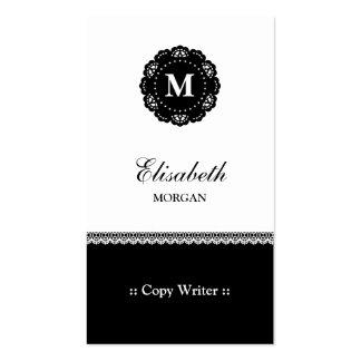 Escritor de la copia - monograma negro elegante de