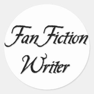 Escritor de la ficción de fan pegatina redonda
