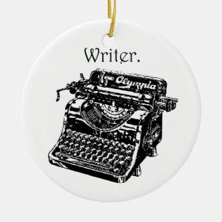 Escritor de la máquina de escribir adorno navideño redondo de cerámica