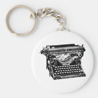 Escritor de la máquina de escribir del sotobosque llavero redondo tipo pin