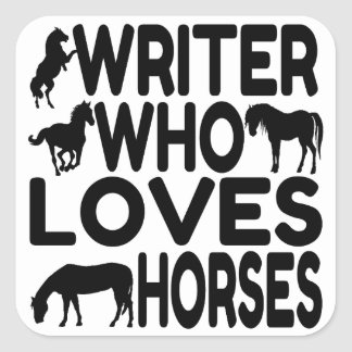 Escritor del amante del caballo pegatina cuadrada