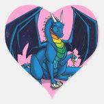 Escritor del dragón pegatina en forma de corazón
