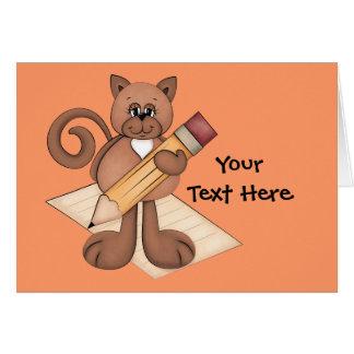 Escritor del gatito tarjeta de felicitación