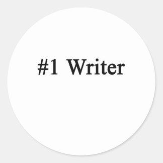 Escritor del número 1 pegatina redonda