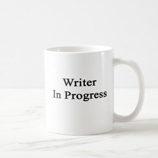 Escritor en curso tazas de café
