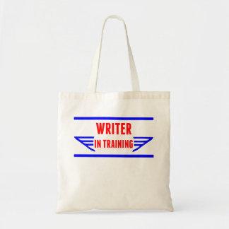 Escritor en el entrenamiento bolsa