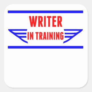 Escritor en el entrenamiento calcomanía cuadradase
