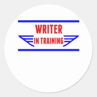 Escritor en el entrenamiento pegatina redonda