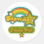 Escritor free lance de la superestrella etiqueta redonda