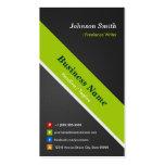 Escritor free lance - negro y verde superiores tarjetas de visita