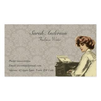 Escritor free lance - señora y máquina de escribir plantillas de tarjeta de negocio