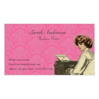 Escritor free lance - señora y máquina de escribir plantilla de tarjeta de negocio