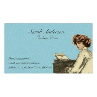 Escritor free lance - señora y máquina de escribir tarjetas de visita