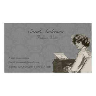 Escritor free lance - señora y máquina de escribir plantilla de tarjeta personal