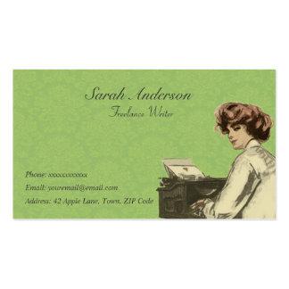 Escritor free lance - señora y máquina de escribir tarjeta de visita