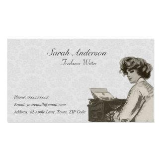 Escritor free lance - señora y máquina de escribir plantillas de tarjetas de visita