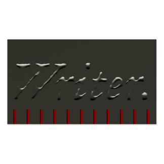 Escritor grabado en relieve con los piquetes rojos tarjetas de visita
