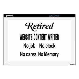 Escritor jubilado del contenido del Web site Calcomanía Para Portátil