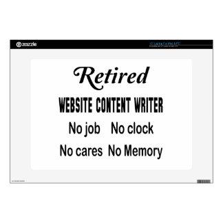 Escritor jubilado del contenido del Web site Portátil Calcomanía