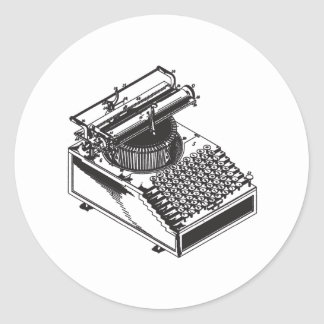 Escritor - mecanografíe la máquina de la escritura pegatina redonda