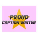 Escritor orgulloso del subtítulo postales