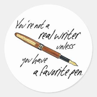 Escritor real etiqueta redonda