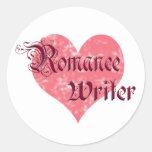 Escritor romántico pegatina redonda