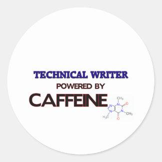 Escritor técnico accionado por el cafeína etiquetas redondas
