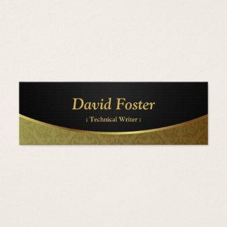 Escritor técnico - damasco negro del oro tarjetas de visita mini