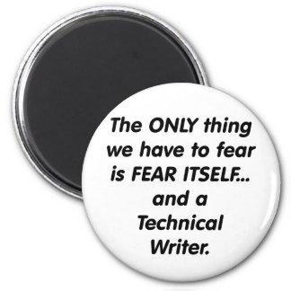 escritor técnico del miedo imán redondo 5 cm