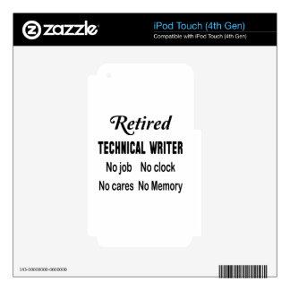 Escritor técnico jubilado ningún trabajo ningún calcomanías para iPod touch 4G