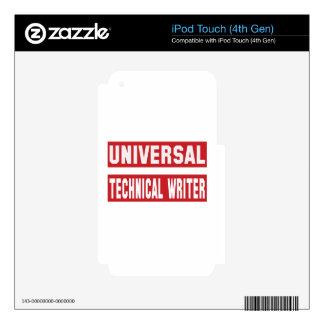 Escritor técnico universal skins para iPod touch 4G