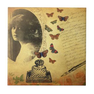 Escritor y mariposas de la mujer del collage del azulejo cuadrado pequeño
