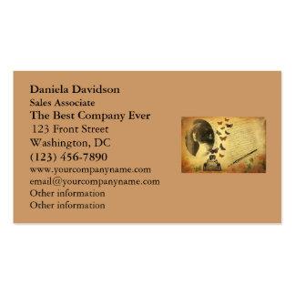 Escritor y mariposas de la mujer del collage del tarjetas de visita