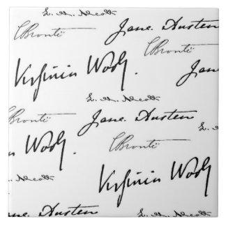Escritores de las mujeres azulejo cuadrado grande