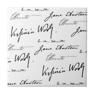 Escritores de las mujeres azulejo cuadrado pequeño