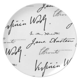 Escritores de las mujeres plato de comida