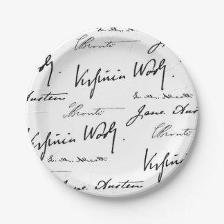 Escritores de las mujeres plato de papel de 7 pulgadas