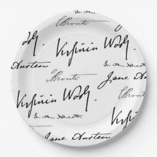 Escritores de las mujeres plato de papel de 9 pulgadas