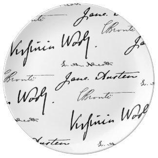 Escritores de las mujeres platos de cerámica