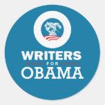 Escritores para Obama Pegatina Redonda