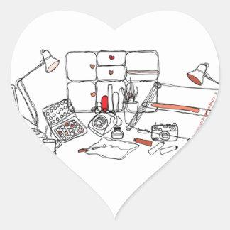 Escritorio del diseño - negro en blanco colcomanias corazon