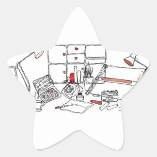 Escritorio del diseño - negro en blanco calcomanía forma de estrella personalizadas