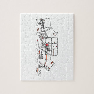 Escritorio del diseño - negro en blanco puzzle