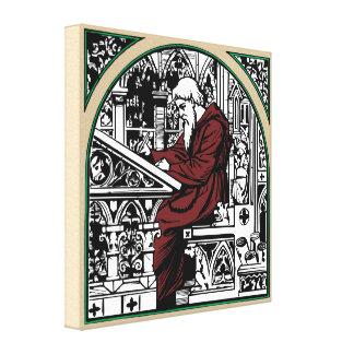 Escritorio y monje medievales arqueados de la lona estirada galerías