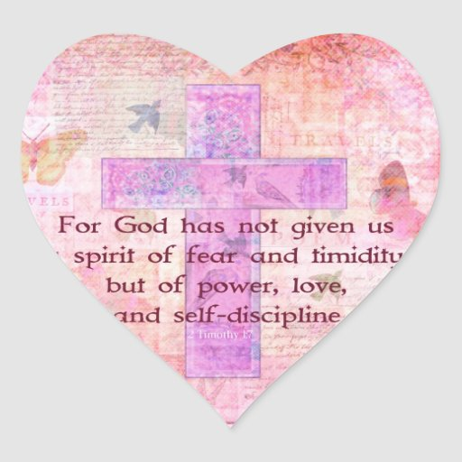 Escritura bíblica de la cita del 1:7 de 2 Timothy Calcomanía Corazón Personalizadas